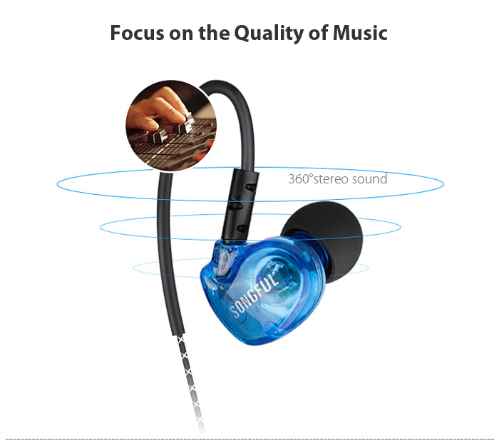 SONGFUL S1 Wired On-cord Control Noise-canceling Sports In-ear Earphones