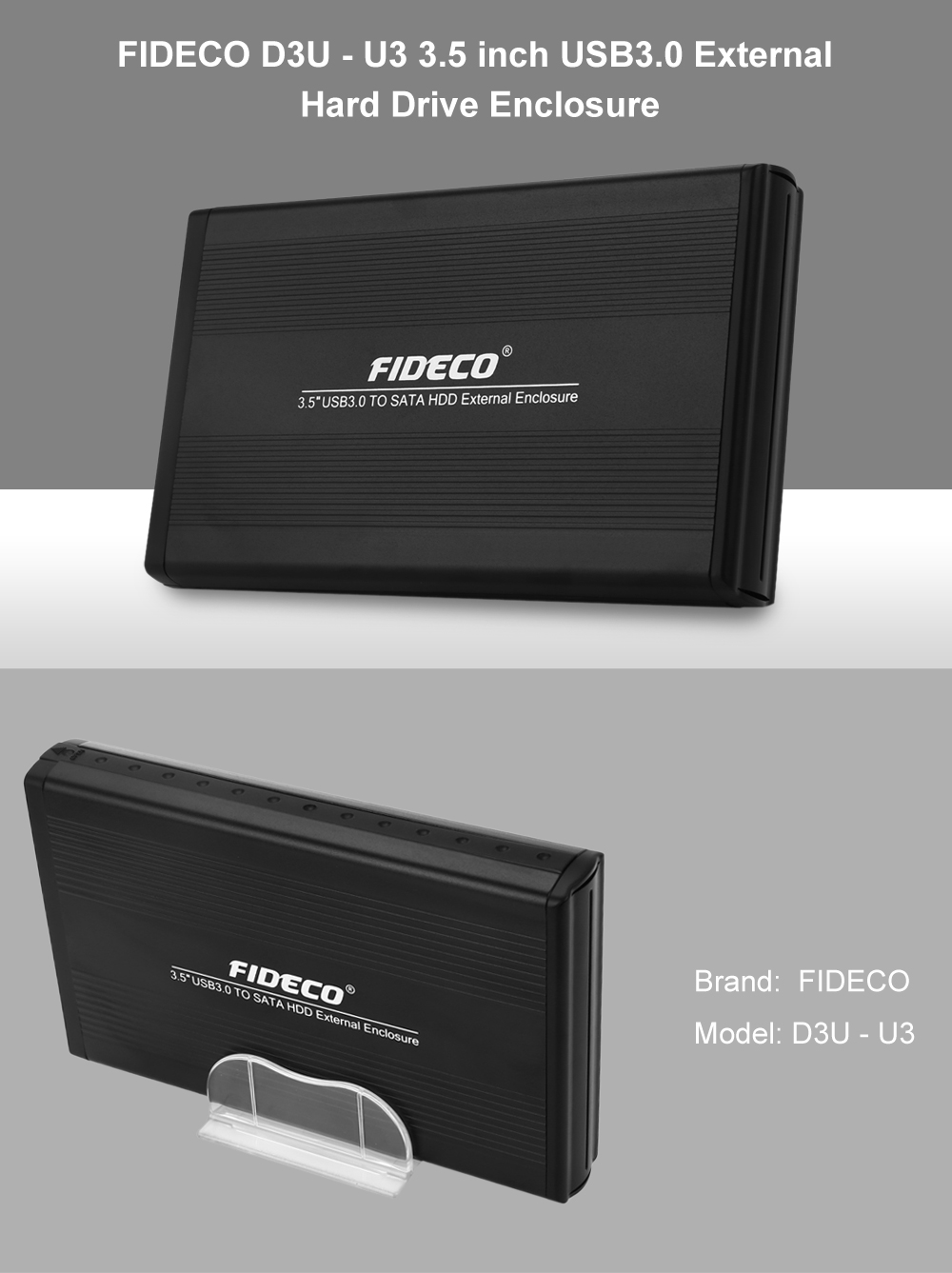FIDECO D3U - U3 3.5 inch USB3.0 External Hard Drive Enclosure Compatible with USB 2.0 and USB 1.1