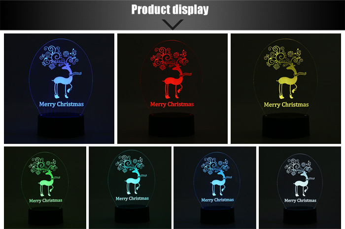 3D Christmas LED Light Deer Colorful Romantic Decorative Lamp