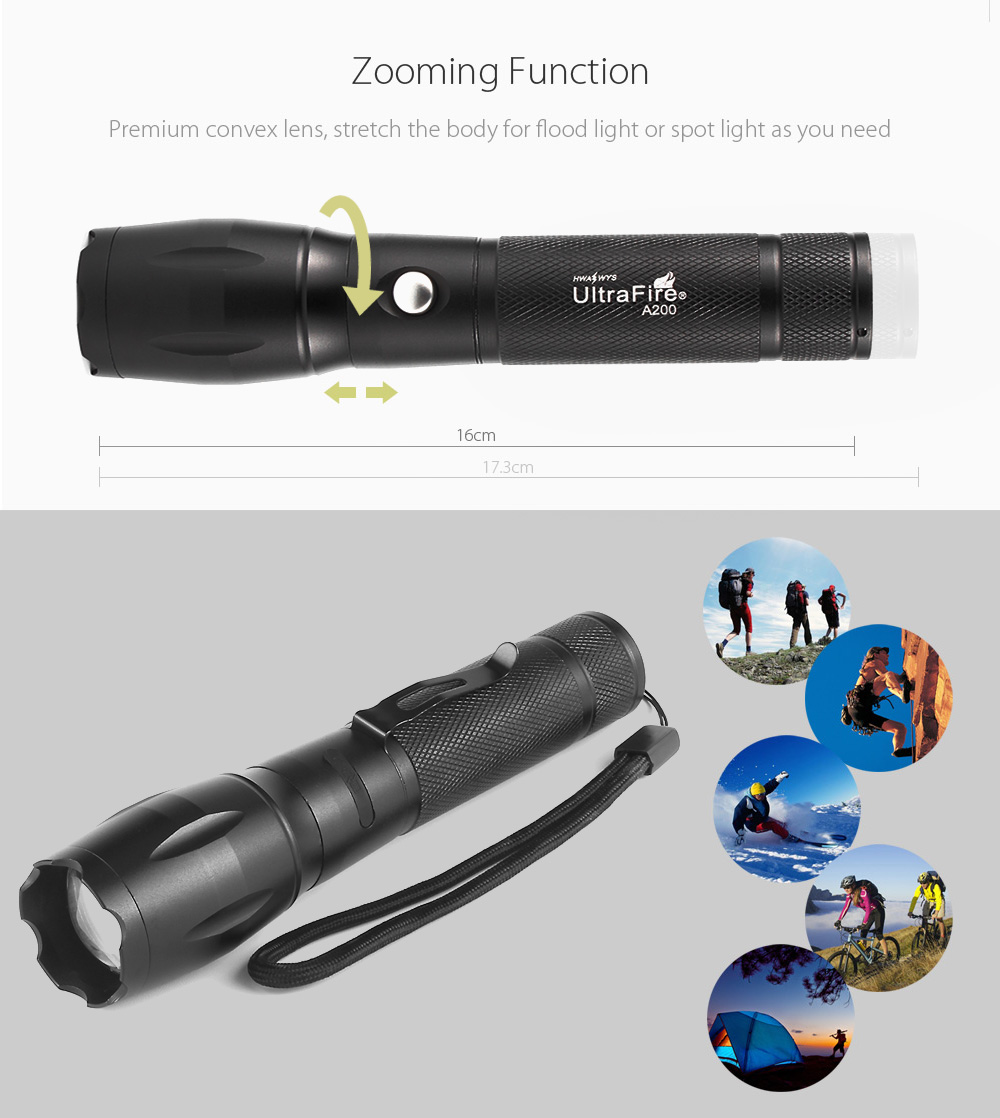 UltraFire A200 Cree XML T6 1000LM Rechargeable Zoomable LED Flashlight