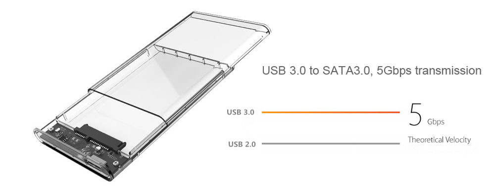 ORICO 2139U3 2.5 inch Transparent USB 3.0 Hard Drive Enclosure for HDD / SSD Connectivity