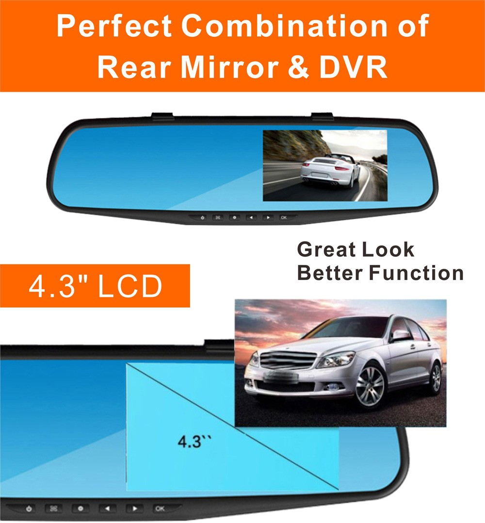 RM-LC2010 1080P Full HD 30W Pixel 170 Degree Wide Angle Car Rearview Mirror Back Camera Monitor DVR Loop Cycle Recording Parking Monitoring Motion Detection