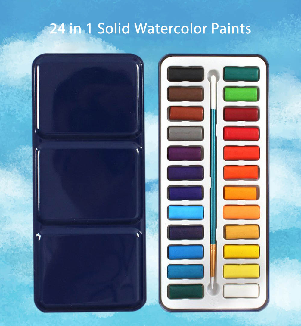24 in 1 Water Color Cake Solid Watercolor Paints for Painting