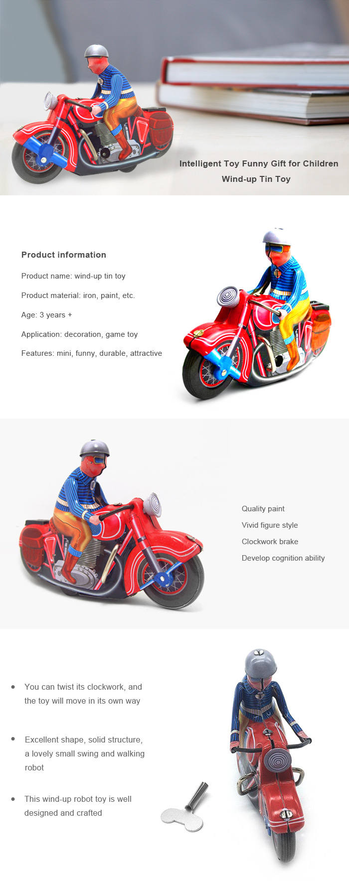 Clockwork Spring Walking Autobike Robot Retro Mechanical Toy Christmas Gift