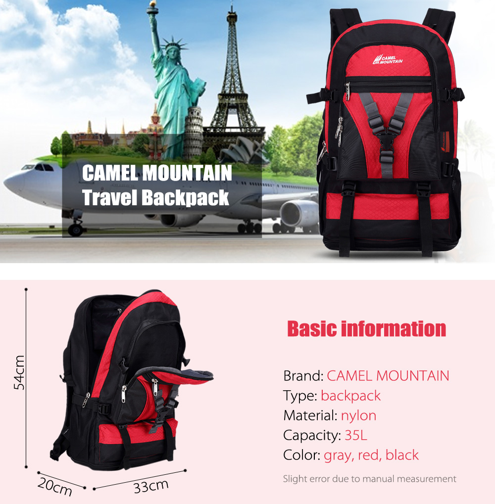 CAMEL MOUNTAIN  1060 Breathable Nylon 35L Backpack Laptop Bag
