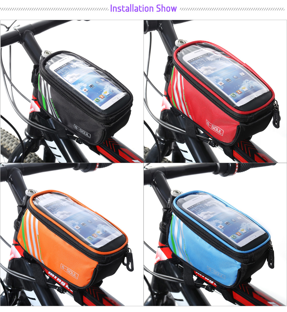B - SOUL YA0207 1.4L Water Resistant 4.8 inch Touch Screen Bicycle Front Tube Bag