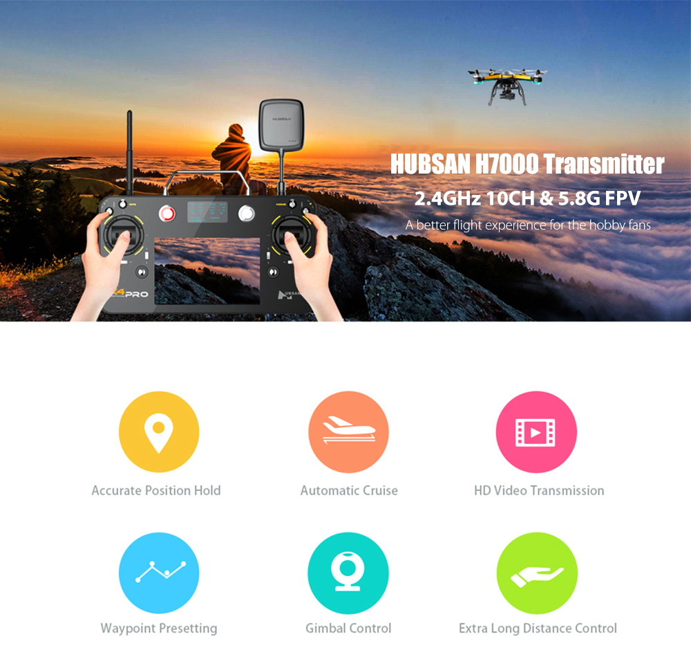 HUBSAN H7000 2.4GHz 10CH Transmitter with 5.8G Video Transmission 7 inch Screen for X4 Pro H109S RC Quadcopter