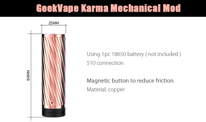 Original GeekVape Karma Mechanical Mod with Copper Construction / Supporting 1pc 18650 Battery for E Cigarette