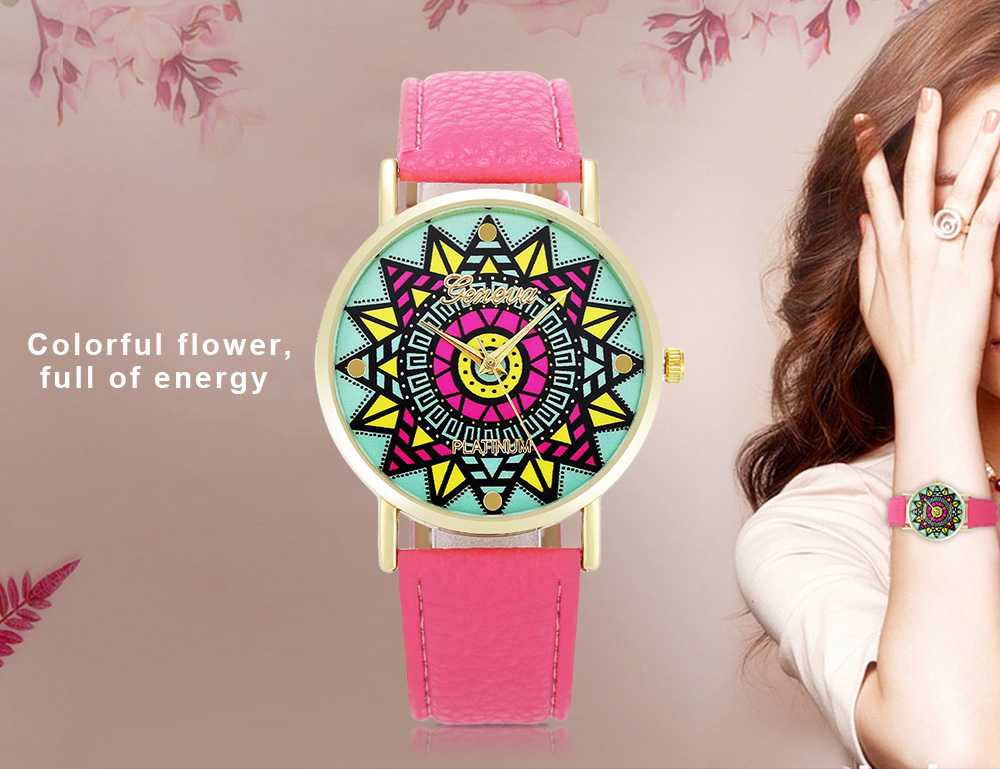 Geneva Fashion Women Quartz Watch Colorful Flower Pattern Dial Wristwatch