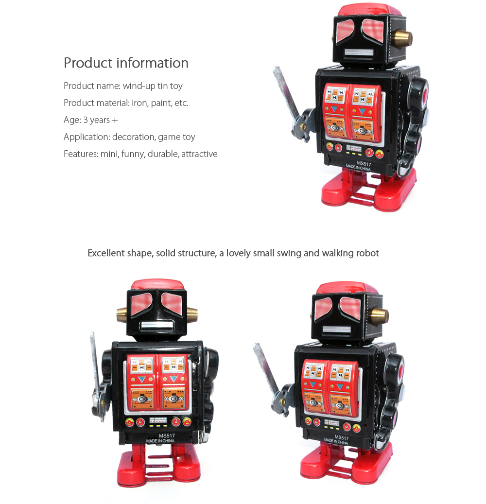 Retro Vintage Walking Robot Clockwork Mechanical Toy Christmas Gift