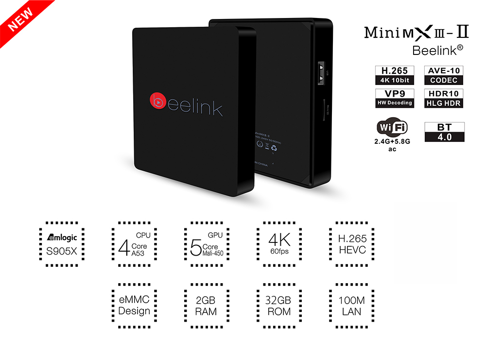 Beelink MINI MXIII II TV Box Amlogic S905X Quad Core