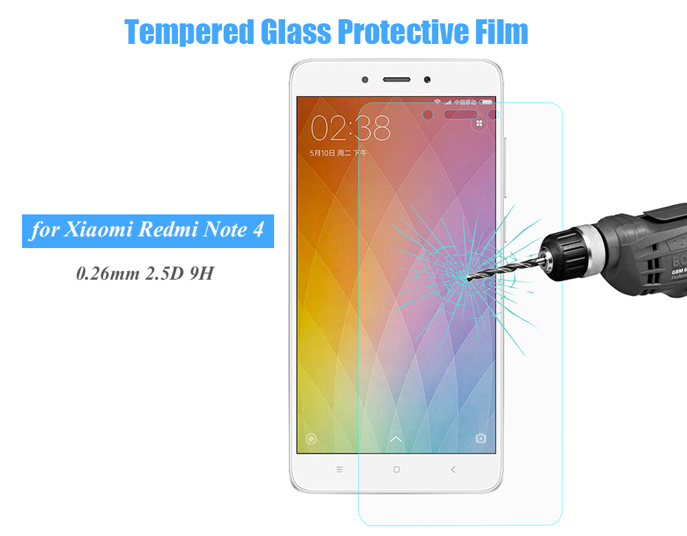 Hat Prince Tempered Glass Screen Protective Film for Xiaomi Redmi Note 4 Ultra-thin 0.26mm 2.5D 9H Explosion-proof Protector