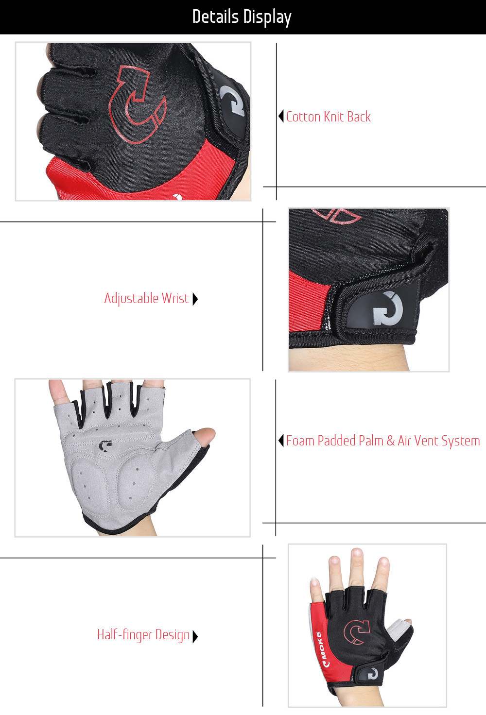 MOKE 1002 Pair of Adjustable Half-finger Cycling Gloves Breathable Shock-resistant Bike Accessories