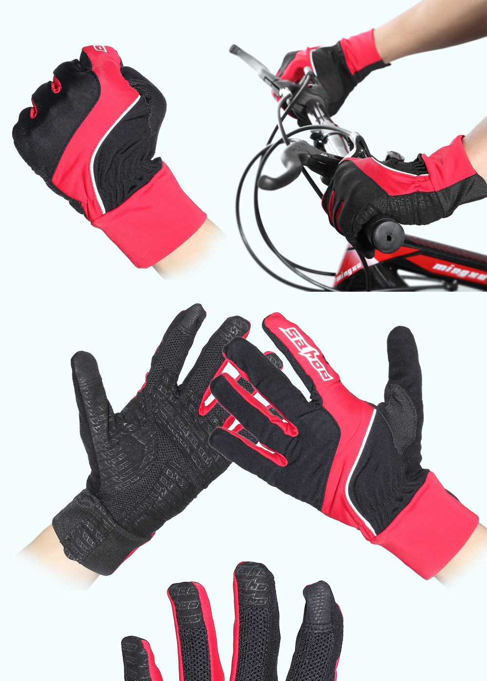SAHOO 42890 Pair of Touchscreen Full-finger Cycling Gloves for Autumn Winter