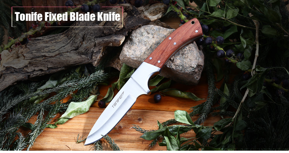 Tonife HKT4002 Portable Fixed Blade Knife with Wooden Handle