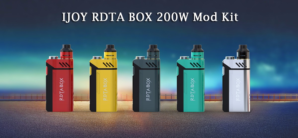 Original IJOY RDTA BOX 200W Mod Kit with Ni / Ti / SS Temperature Control / Firmware Upgradeable/ 12.8ml Capacity / IMC Interchangeable Build Deck RDA for E Cigarette