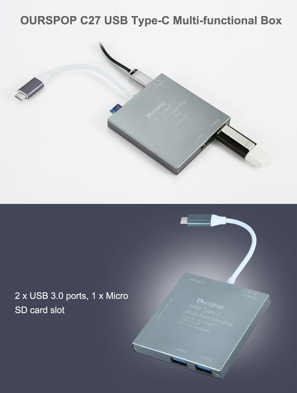 OURSPOP C27 USB Type-C Multi-functional Box with USB 3.0 / Micro SD Card Slot / M.2 NGFF SSD Enclosure