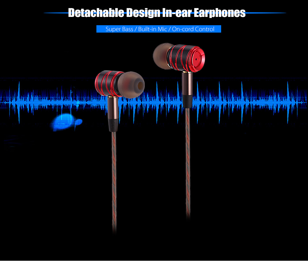 Super Bass In-ear Earphones with Mic On-cord Control Detachable Earbud Design