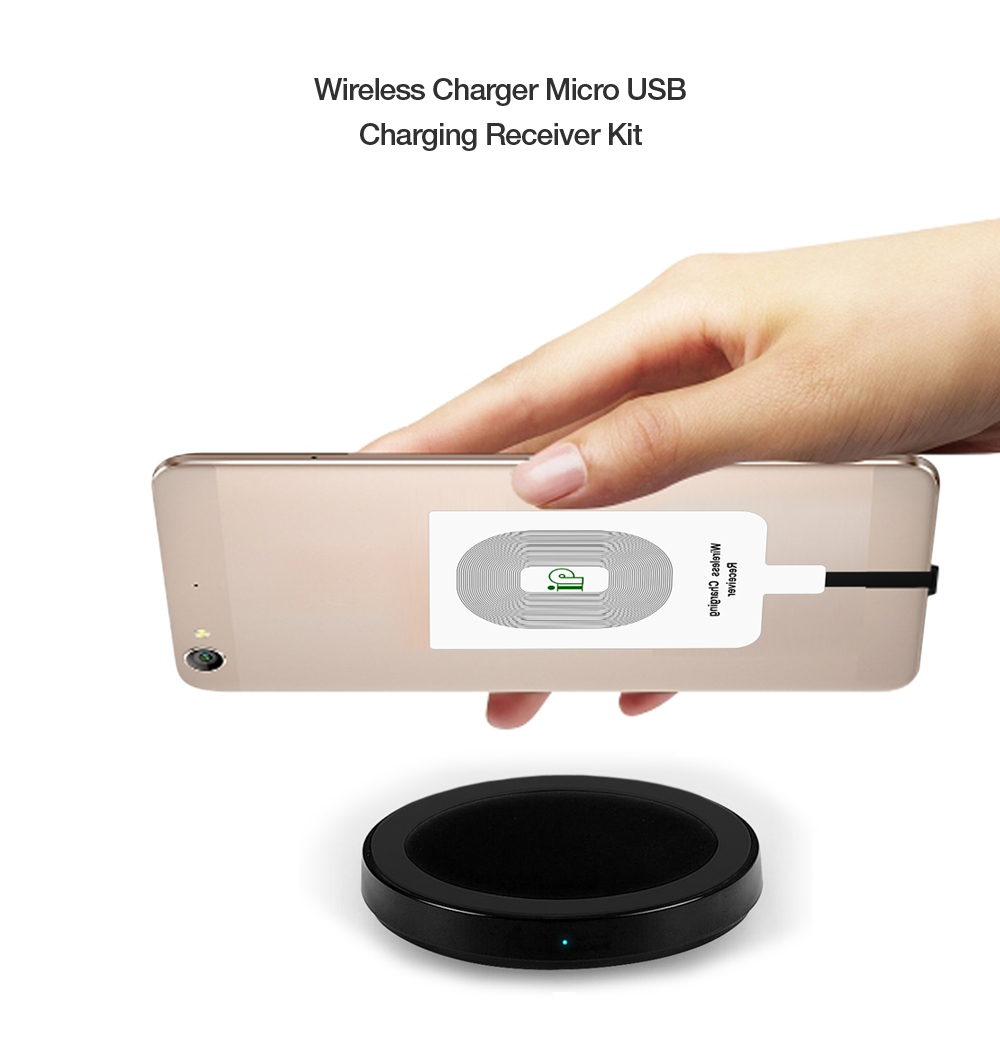 Qi Standard Wireless Charger Transmitter Micro USB Charging Receiver Ultra-thin Mini Launcher Pad