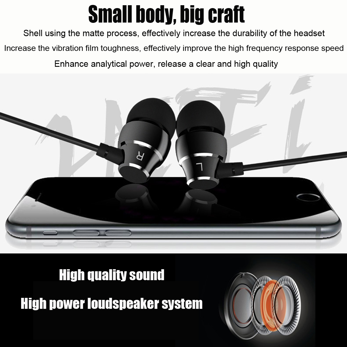 A3 HiFi Super Bass In-ear Earphones with Mic On-cord Control