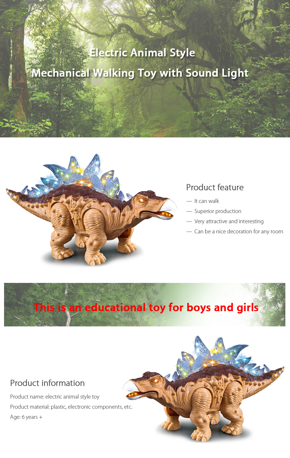 Electric Stegosauria with Roaring Sound Toy Children Present