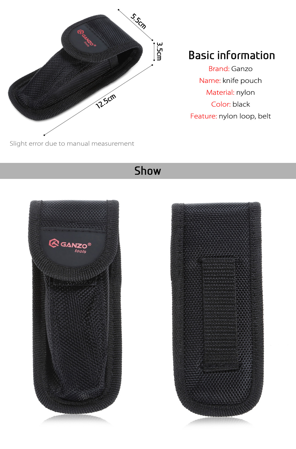 Ganzo Portable Nylon Knife Pouch Sheath with Belt for Hanging Waistband