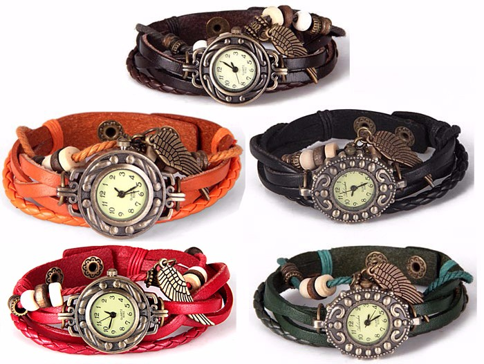 Quartz Watch with Wing Design Round Dial and Leather Watch Band for Women