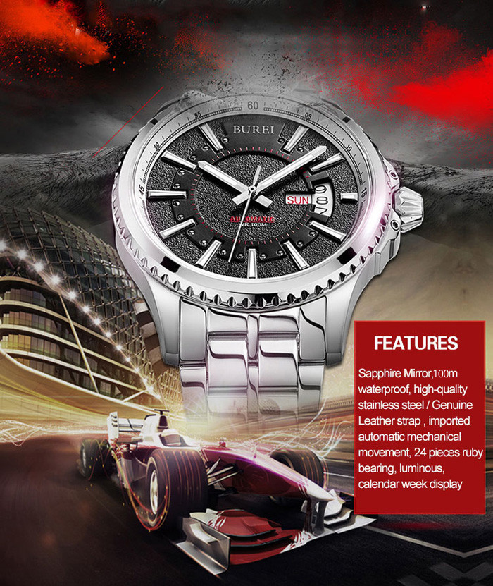 BUREI 24 Pieces Ruby Bearing Sports Automatic Mechanical Male Watch