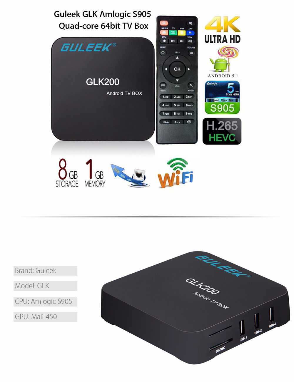 Guleek GLK200 Android Box Amlogic S905 Quad-core 64bit Android 5.1 Mini PC Support 2.4G WiFi
