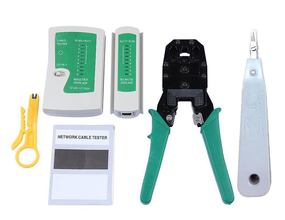 Portable Ethernet Network Cable Tester Kit RJ45 RJ11 Cat 5 / 6 Wire Line Detector Professional Crimping Tool
