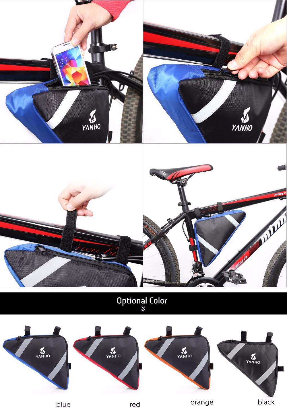 YANHO YA085 10L Triangle Bike Front Tube Bag with Reflective Stripes Cycling Accessories