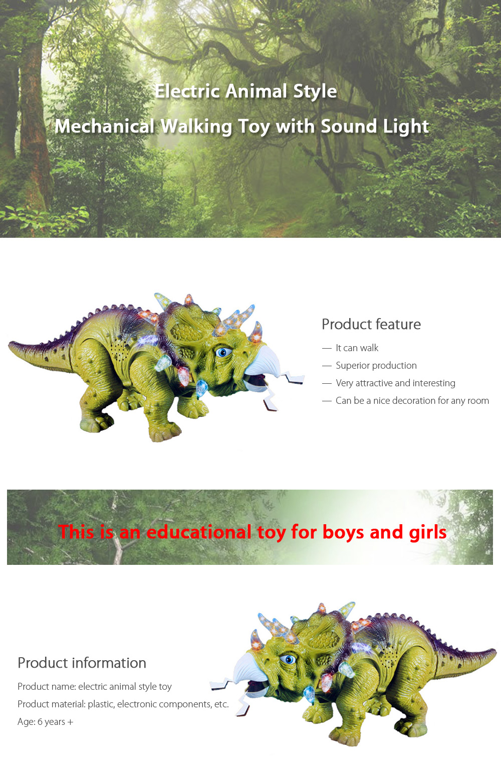 Electric Triceratops with Roaring Sound Toy Children Present