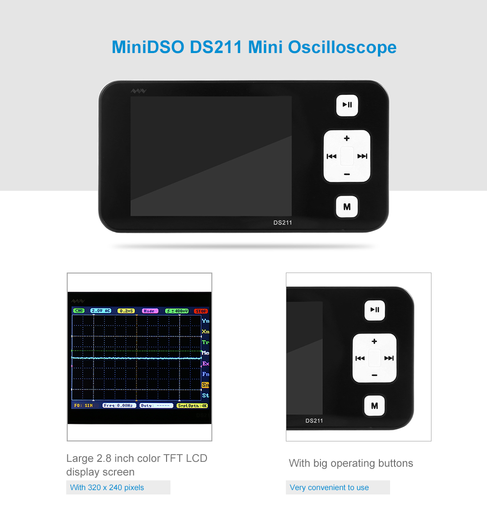MiniDSO DS211 Pocket Oscillograph Electronic Engineering Device with TFT LCD Display