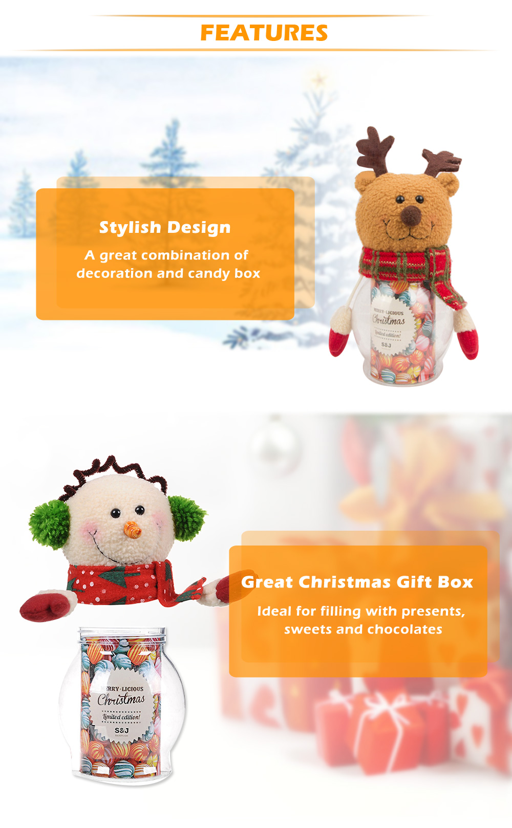 Cute Xmas Doll Candy Present Box Novelty Ornament Decor for Holiday Party