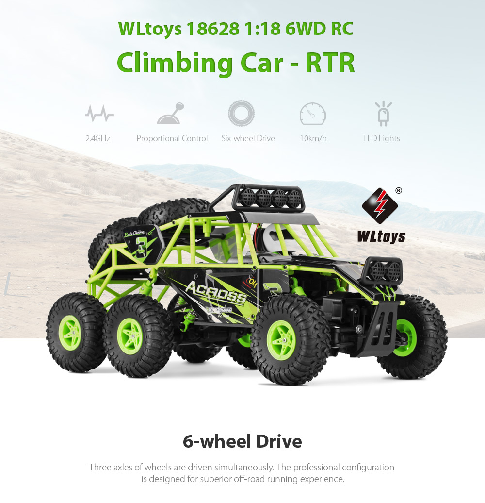 WLtoys 18628 1:18 6WD Off-road RC Climbing Car RTR 2.4GHz Proportional Control / LED Lights / Strong Magnetic Motor