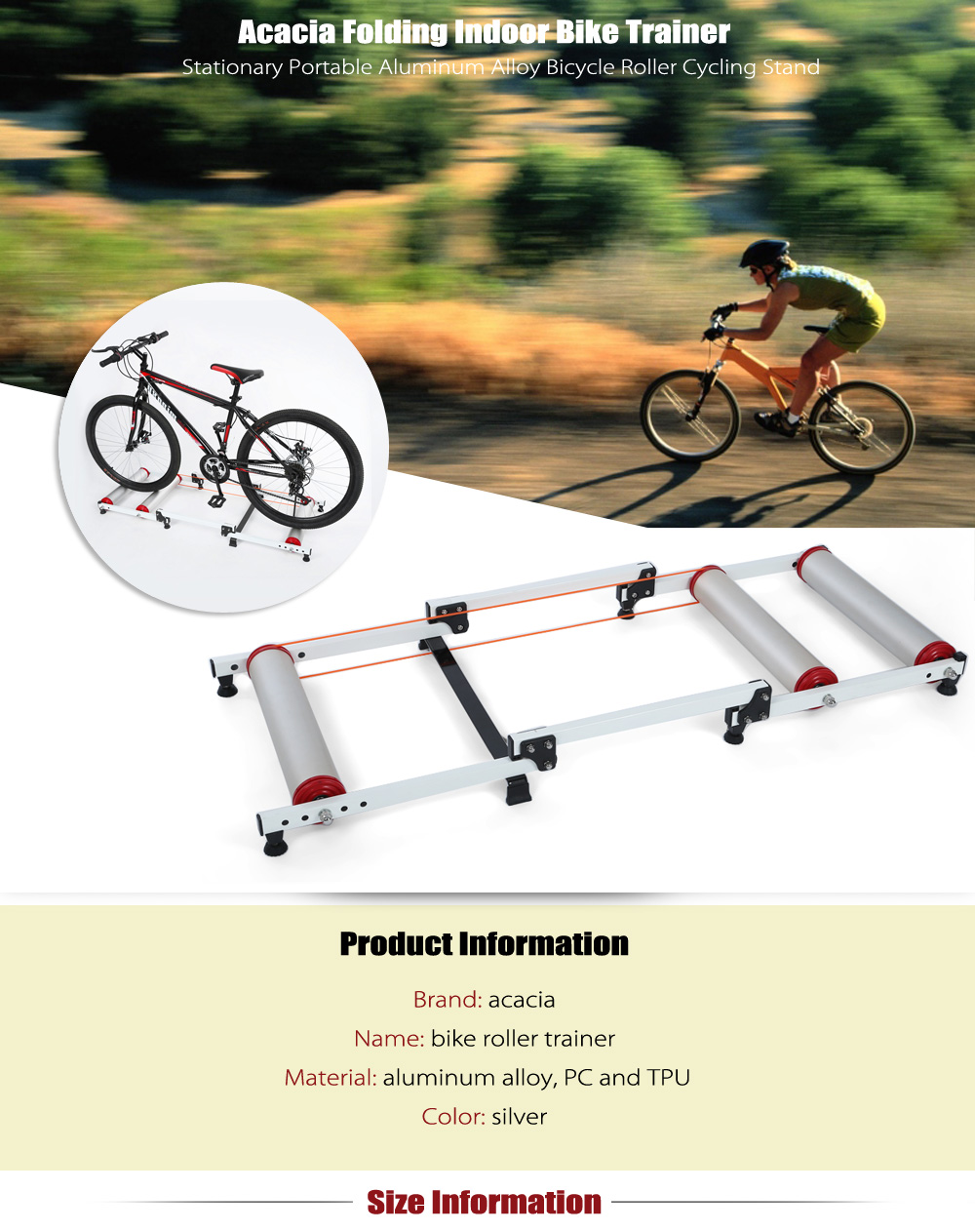 Acacia Folding Stationary Indoor Bike Trainer Portable Aluminum Alloy Bicycle Roller Cycling Stand
