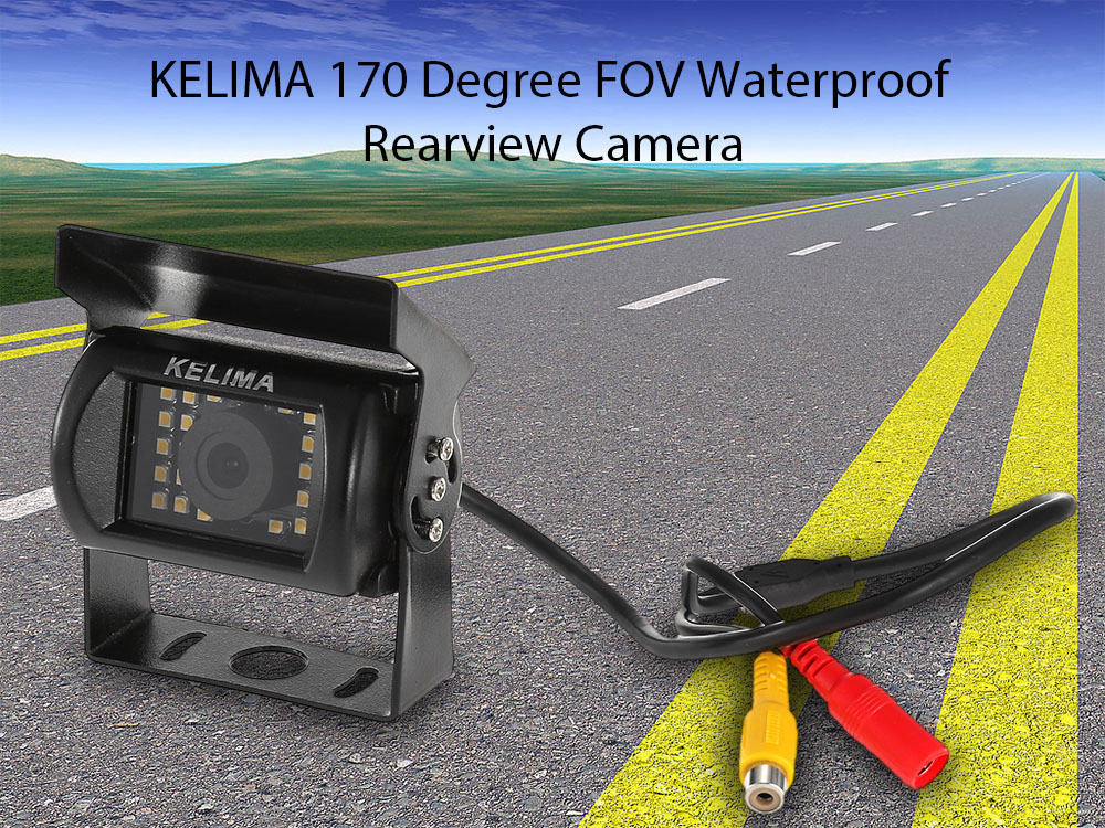 KELIMA 170 Degree View Angle 24 SMD LED Rearview Camera for Vehicles with Night Vision Function