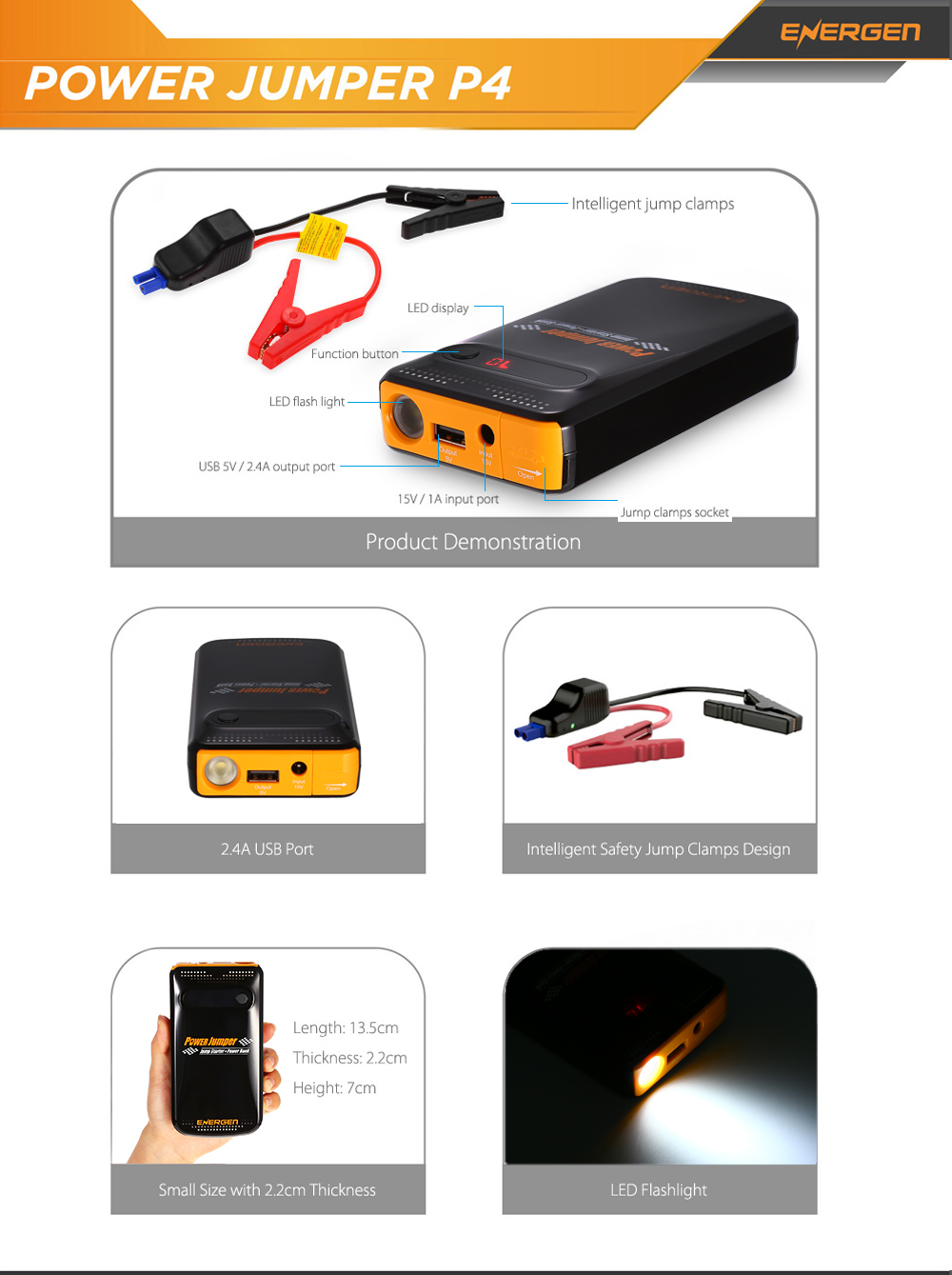 ENERGEN P4 400A Peak Current Start Jumper For Car 10000mAh Capacity Power Charger