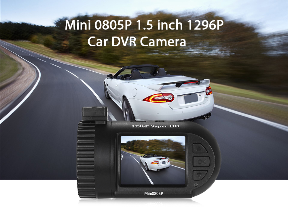 Mini 0805P 1.5 inch 1296P Car DVR Camera with G-sensor Parking Monitor Built-in GPS Module
