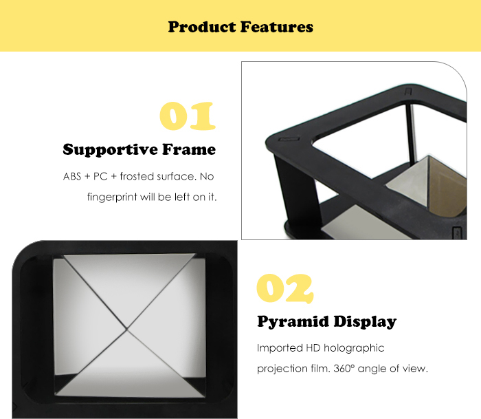 Novelty 3D Holographic Pyramid Display Glassless Realistic Effect