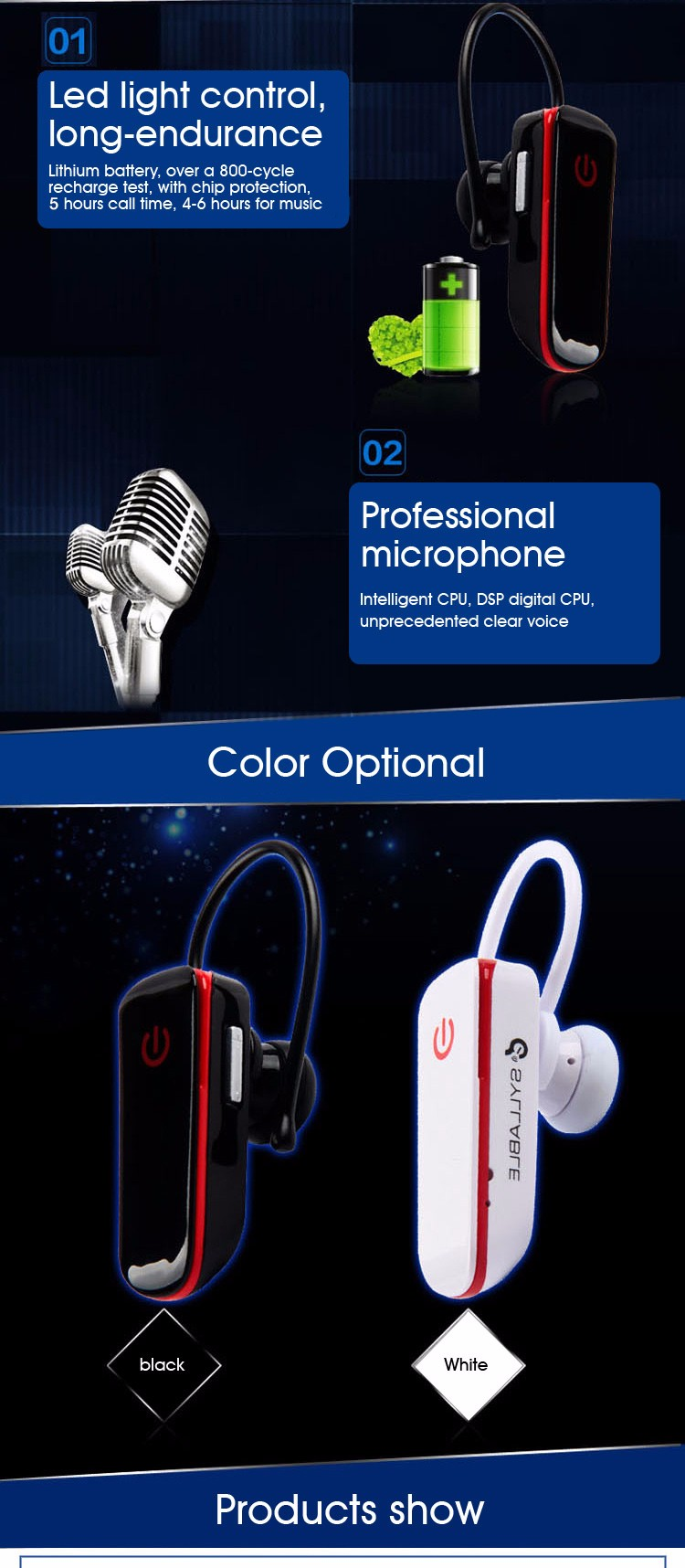 Syllable D50 New Mini Wireless Bluetooth Headphone Earphone Headset with Mic for Safety Driving
