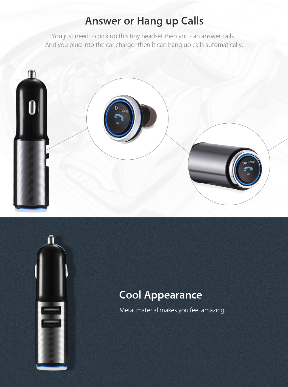 OURSPOP Bluetooth 4.1 Wireless Car Business Earphones Headset with USB Charger Port