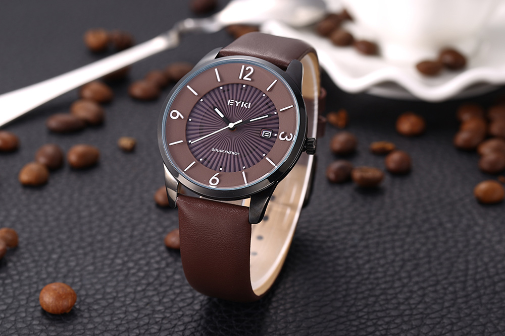 EYKI 3062 Fashion Working Sub-dial Male Quartz Watch Leather Strap Wristwatch