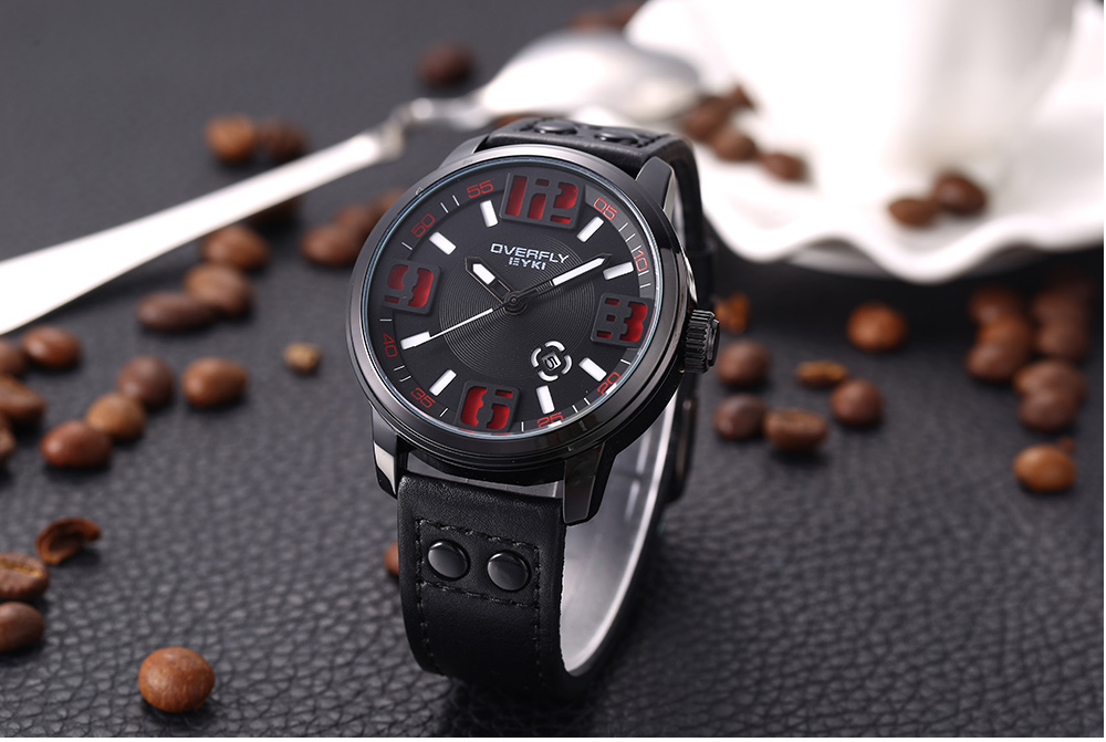 EYKI 3053 Casual Hollow-out Scale Male Quartz Watch Leather Strap Wristwatch