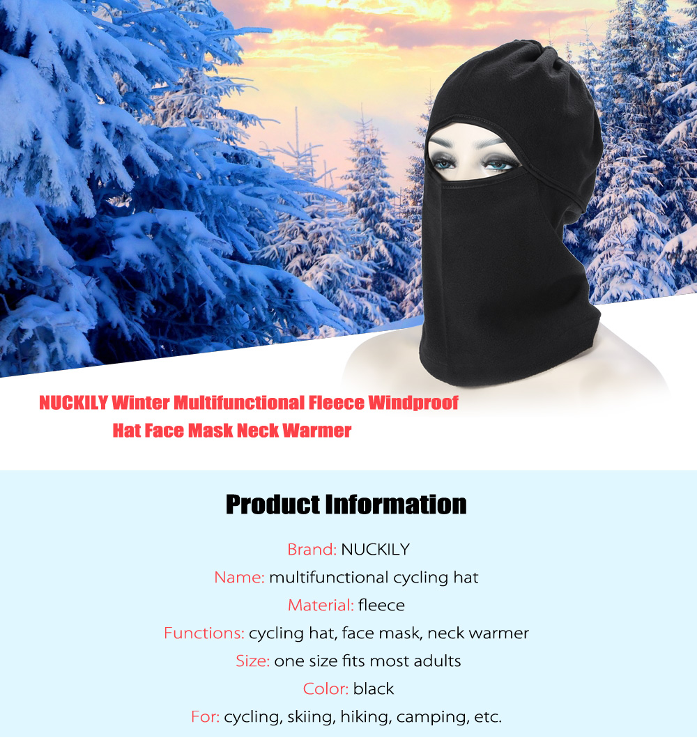 NUCKILY Winter Windproof Fleece Multifunctional Cycling Hat Mask Outdoor Riding Face Guard Neck Warmer