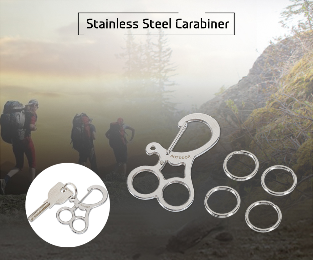 AOTDDOR Portable Stainless Steel Carabiner Keychain with 4 Rings