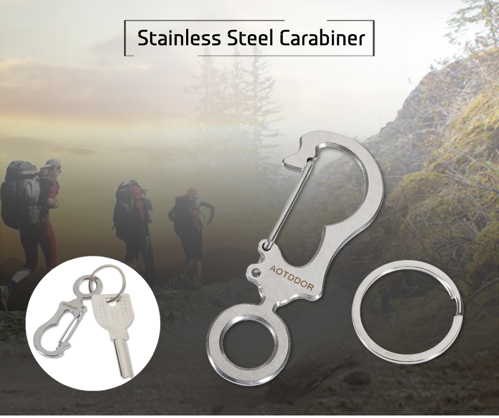 AOTDDOR Portable Stainless Steel Carabiner Keychain with Ring