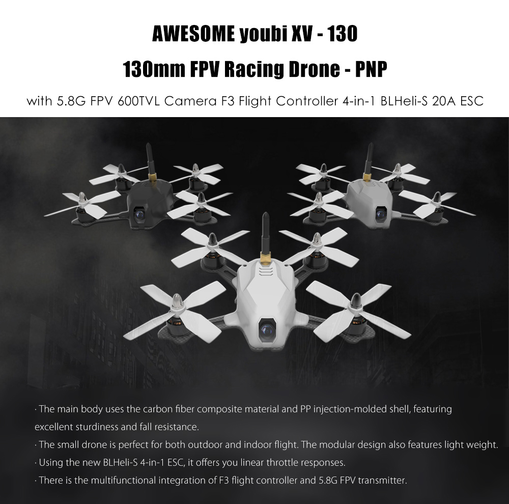 AWESOME youbi XV - 130 130mm FPV Racing Drone PNP 5.8G 600TVL / 4-in-1 BLHeli-S 20A ESC / Three Body Shells