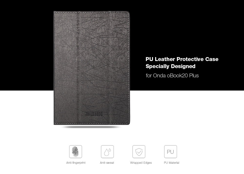 PU Leather Protective Case Full Body Stand Design for Onda OBook 20 Plus