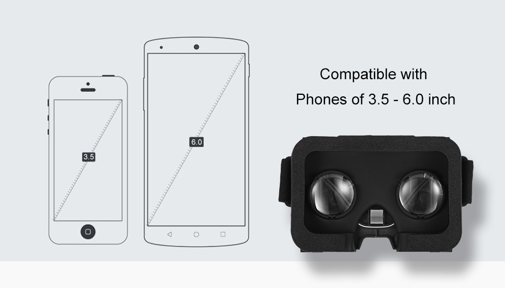 Virtual Reality 3D Glasses for 3.5 - 6.0 inch Phones